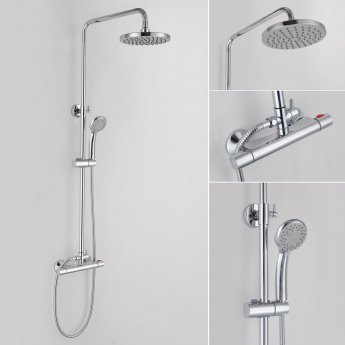 Signature Rondi Thermostatic Bar Mixer Shower with Shower Kit and Fixed Head - Chrome