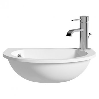 Signature Space Semi-Recessed Basin 490mm Wide 1 Tap Hole