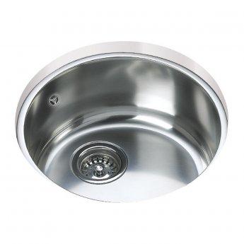 Signature Teka 1.0 Bowl Round Undermount Kitchen Sink with Waste Kit 390mm L x 390mm W - Stainless Steel