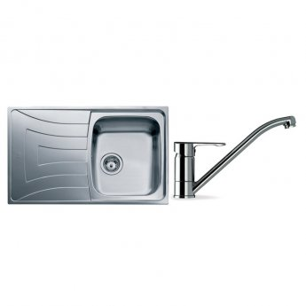 Signature Teka 1.0 Bowl Kitchen Sink with Sink Tap and Waste Kit 790 L x 500 W - Stainless Steel