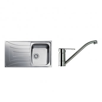Signature Teka 1.0 Bowl Kitchen Sink with Sink Tap and Waste Kit 860 L x 500 W - Stainless Steel
