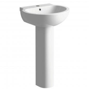 Signature Tikal Basin and Full Pedestal 535mm Wide - 1 Tap Hole