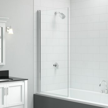 Signature Vibrance Single Square Bath Screen 1500mm High x 800mm Wide - 6mm Glass