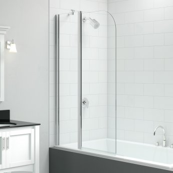 Signature Vibrance Two Panel Curved Folding Bath Screen 1500mm High x 900mm Wide - 6mm Glass