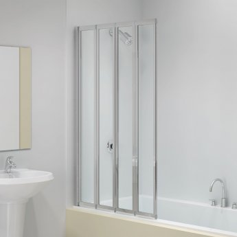 Signature Vibrance Four Panel Folding Square Bath Screen 1400mm High x 850mm Wide - 4mm Glass