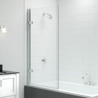 Signature Vibrance Single Square Hinged Bath Screen 1500mm High x 850mm Wide - 8mm Glass