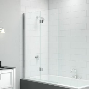 Signature Vibrance Two Panel Hinged Bath Screen 1500mm High x 900mm Wide - Left Handed