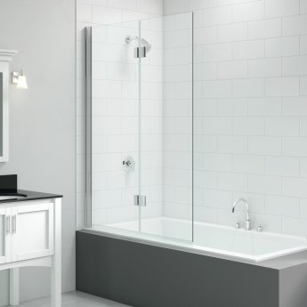 Signature Vibrance Two Panel Folding Hinged Bath Screen 1500mm High x 1100mm Wide - 8mm Glass