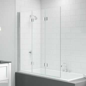 Signature Vibrance Three Panel Folding Hinged Bath Screen 1500mm High x 1400mm Wide - 8mm Glass