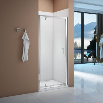 Signature Vibrance Pivot Shower Door 800mm Wide - 6mm Glass