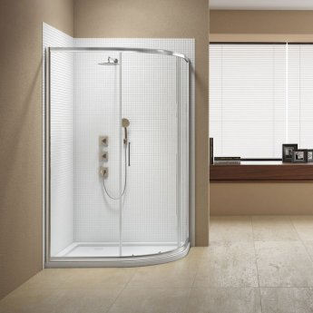 Signature Vibrance Subline Single Door Offset Quadrant Shower Enclosure 1000mm x 800mm - 8mm Glass