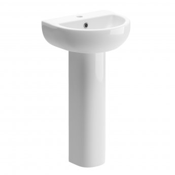 Signature Zeus Basin and Full Pedestal 450mm Wide 1 Tap Hole