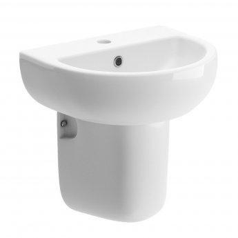 Signature Zeus Basin and Semi Pedestal 450mm Wide 1 Tap Hole
