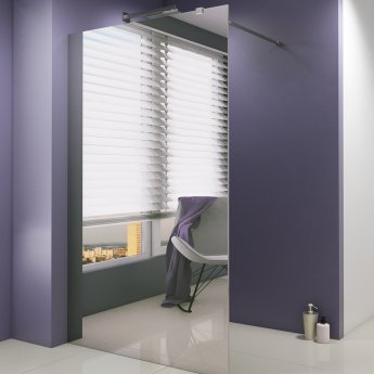 Synergy Vodas 8 Mirrored Wet Room Screen 900mm Wide - 8mm Glass