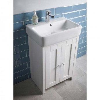 Tavistock Lansdown Floor Standing Vanity Unit with Basin 550mm W - Linen White