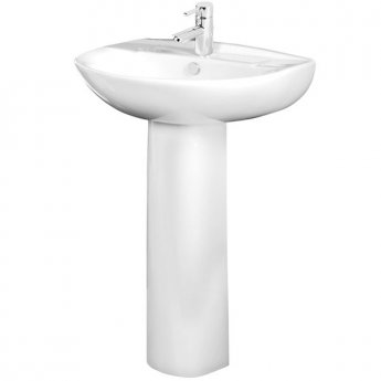 Tavistock Micra Basin & Full Pedestal 565mm Wide 1 Tap Hole