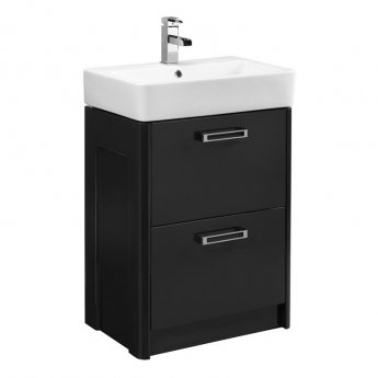 Tavistock Q60 Floor Mounted Bathroom Vanity Unit & Basin 550mm W Graphite 1 Tap Hole