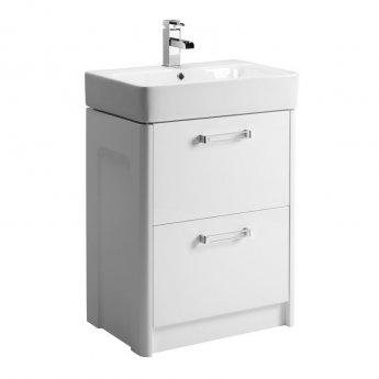 Tavistock Q60 Floor Mounted Bathroom Vanity Unit & Basin 550mm W White 1 Tap Hole