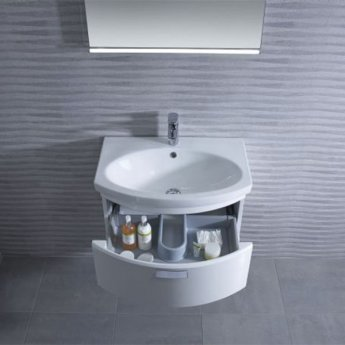 Tavistock Tempo Wall Mounted Bathroom Vanity Unit & Basin 650mm Wide White 1 Tap Hole