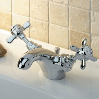 Tavistock Varsity Mono Basin Mixer Tap Dual Handle with Pop Up Waste - Chrome