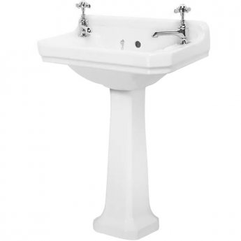 Tavistock Vitoria Cloakroom Basin & Full Pedestal 500mm Wide 2 Tap Hole