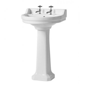 Tavistock Vitoria Basin with Full Pedestal 550mm Wide - 2 Tap Hole