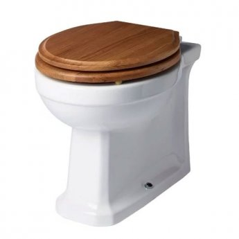 Tavistock Vitoria Back To Wall Toilet WC - Soft Close Solid Natural Oak Seat