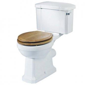 Tavistock Vitoria Close Coupled Toilet with Lever Cistern - Oak Seat