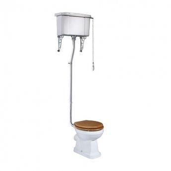 Tavistock Vitoria High Level Toilet WC Pull Chain Cistern - Solid Bar Hinged Oak Seat