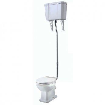 Tavistock Vitoria High Level Toilet WC Pull Chain Cistern Solid Wood Seat