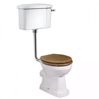 Tavistock Vitoria Low Level Toilet WC Lever Cistern Solid - Bar Hinged Oak Seat
