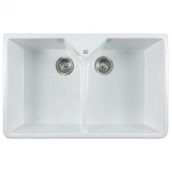 The 1810 Company Argilla 2 Bowl Fireclay Kitchen Sink 800mm Wide - White
