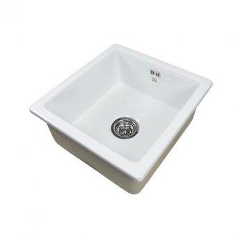 The 1810 Company Argilla 1 Bowl Fireclay Kitchen Sink 450mm Wide - White