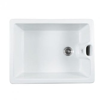 The 1810 Company Argilla 1 Bowl Fireclay Kitchen Sink 595mm Wide - White