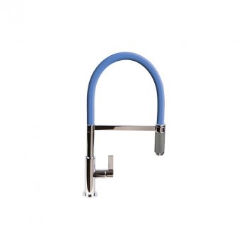 The 1810 Company Spirale Knurled Chrome Spout Sink Mixer Tap with Flexible Hose - Mid Blue