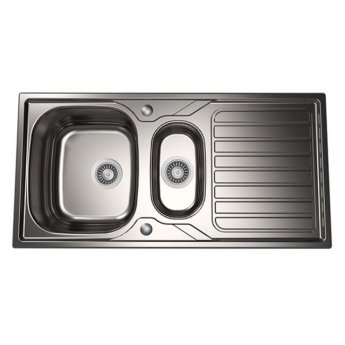 The 1810 Company Veloreduo 100i 1.5 Bowl Kitchen Sink - Stainless Steel