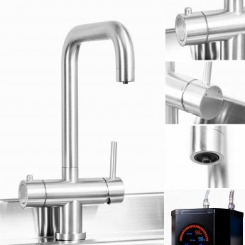Trianco Aztec Instant Hot Water Kitchen Tap 3 in 1 - Brushed