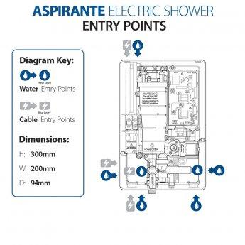 Triton Aspirante Enhance Electric Shower 8.5kw - White