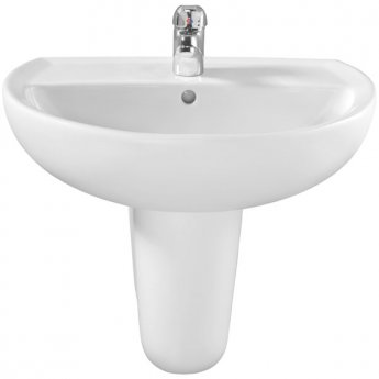 Twyford Alcona Basin & Semi Pedestal 500mm Wide 1 Tap Hole