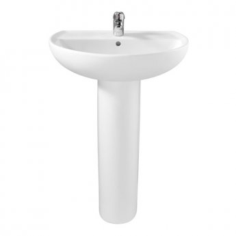 Twyford Alcona Basin & Full Pedestal 600mm Wide 1 Tap Hole