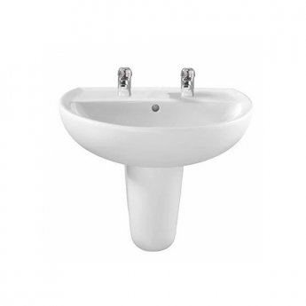 Twyford Alcona Basin & Semi Pedestal 500mm Wide 2 Tap Hole