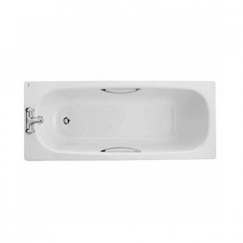 Twyford Celtic Single Ended Rectangular Bath Twin Grips Anti Slip 1700mm x 700mm 2 Tap Hole