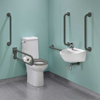 Twyford Doc M Super Pack with Rimless Disabled Toilet Left Handed - Grey