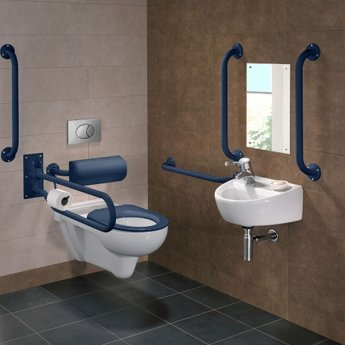 Twyford Doc M Rimless Pack With Wall Hung Disabled Toilet Left Handed - Blue