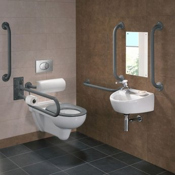 Twyford Doc M Rimless Pack With Wall Hung Disabled Toilet Left Handed - Grey