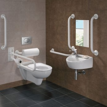 Twyford Doc M Rimless Pack With Wall Hung Disabled Toilet Left Handed - White
