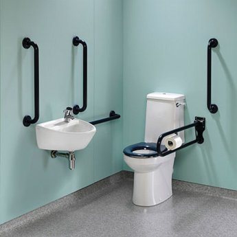 Twyford Doc M Super Pack with Rimless Disabled Toilet Right Handed - Blue