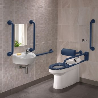 Twyford Doc M Rimless Pack With BTW Disabled Toilet Right Handed - Blue