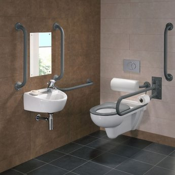 Twyford Doc M Rimless Pack With Wall Hung Disabled Toilet Right Handed - Grey