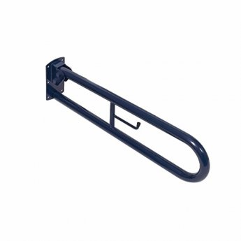 Twyford Doc M Hinged Support Rail With Toilet Roll Holder - Blue